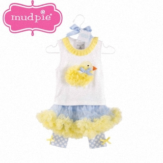 【Mud Pie】背心+澎裙內搭褲 套裝2件組 - 黃色小雞 款 #176053