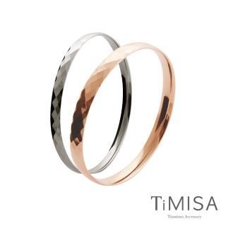 【TiMISA】格緻真愛-寬+細 純鈦手環一對(雙色可選)