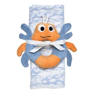 【美國Under The Nile】有機棉包巾薄被安撫玩偶組(海洋薄被/螃蟹玩偶)