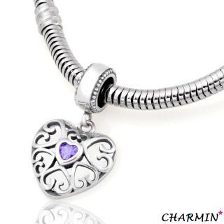 【E&I】CHARMIN 時尚創意手鍊 我心深處 925純愛心鑲鑽造型吊飾