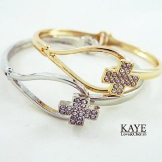 【Kaye歐美流行飾品】水鑽十字架扣式手環