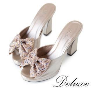 【Deluxe】高跟魚口涼鞋(緞面水晶鑽蝴蝶結 灰/金)