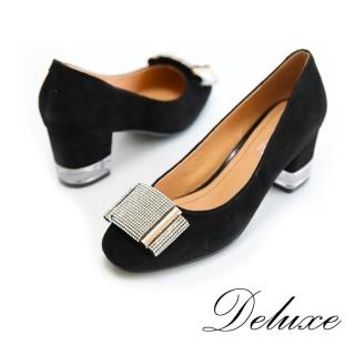 【Deluxe】包頭粗跟鞋(奢華水鑽綴飾   黑)
