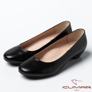 【CUMAR】CUMAR高雅風尚質感羊皮低跟鞋(黑)