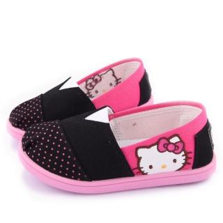 【三麗鷗】Hello Kitty 簡約設計帆布休閒鞋(715915-黑)