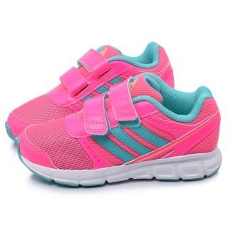 【Adidas】中大童 魔鬼氈輕量運動跑鞋(B26007-桃粉)