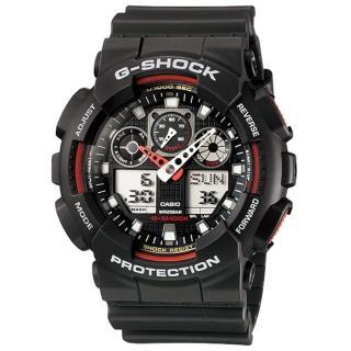 【CASIO】卡西歐G-SHOCK 雙顯鬧鈴電子錶-黑紅(GA-100-1A4)