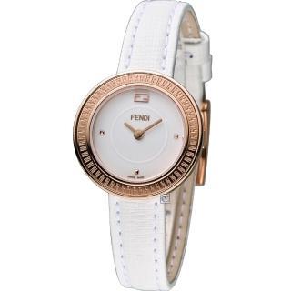 【FENDI】MY WAY 芬迪 輕盈美學時尚腕錶(F350524041 白x玫瑰金色)