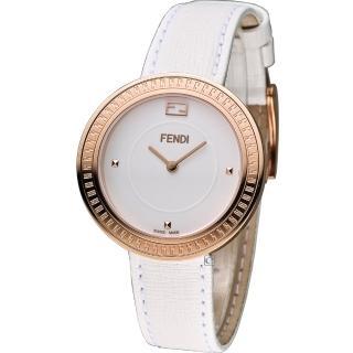 【FENDI】MY WAY 芬迪輕盈美學時尚腕錶(F350534041 白x玫瑰金色)