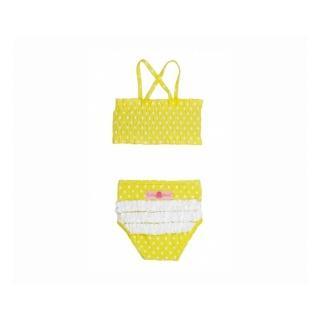 【美國 RuffleButts】小女童兩截式泳裝_檸檬黃白點點泳裝(RBSW08-03)