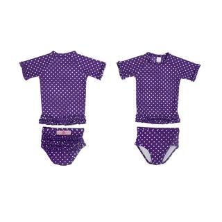 【美國 RuffleButts】美國 RuffleButts 小女童比基尼泳裝_深紫白點點泳裝(RBSW07-07)