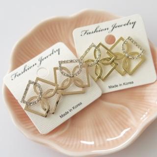 【梨花HaNA】韓國來自星星的你D字全鑽方型耳環