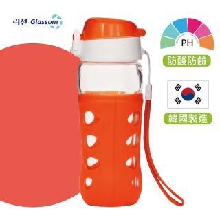 【韓國 GLASSOM】韓國/pop玻璃水瓶/水壺/耐酸耐熱/水杯/450ml/防漏(活力橘)