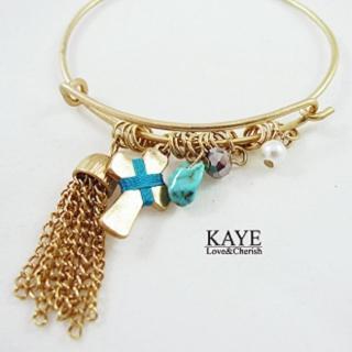 【Kaye歐美流行飾品】十字架鍊子流蘇鉤式手環