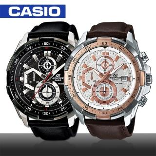 【CASIO 卡西歐 EDIFICE 系列】礦物玻璃_碼錶_不鏽鋼_真皮錶帶男錶(EFR-539L)