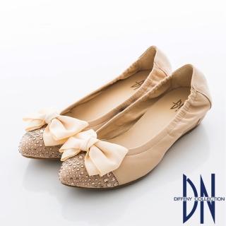【DN】法式玩美 實穿百搭點鑽蝴蝶內增高包鞋(粉)