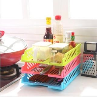 【MAY SHOP】多功能萬用可疊加抽拉式桌面置物架 炫彩物品收納籃文件籃