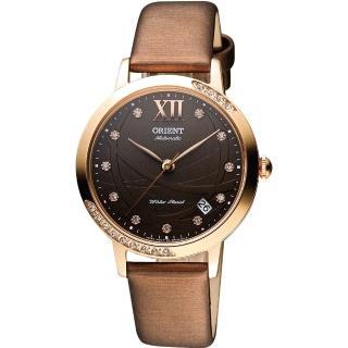 【ORIENT】雅典晶鑽機械腕錶-咖啡x玫瑰金(FER2H002T)