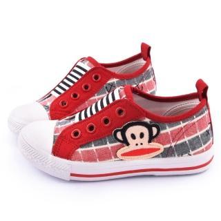 【童鞋城堡】Paul frank大嘴猴 中童 無綁帶懶人帆布鞋(P4543602-紅)