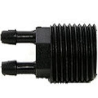 【灑水達人】四分外牙轉兩分雙孔接頭10個一包PVC管專用接內牙滑接頭(黑)