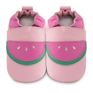 【英國 shooshoos】安全無毒真皮健康手工學步鞋/嬰兒鞋_粉紅西瓜(公司貨)