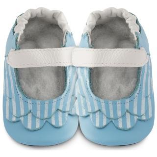 【英國 shooshoos】安全無毒真皮健康手工學步鞋/嬰兒鞋_湛藍荷葉條紋(公司貨)