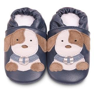 【英國 shooshoos】安全無毒真皮健康手工學步鞋/嬰兒鞋_海軍藍小狗狗(公司貨)