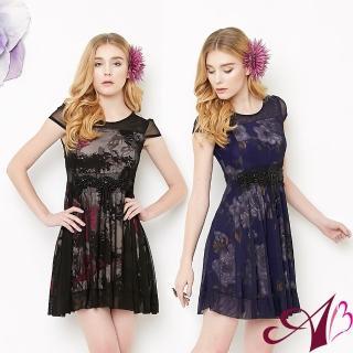 【A3】春浪漫花卉薄紗洋裝(紫色、黑色)