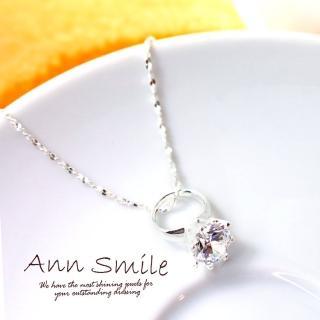 【微笑安安】爪鑲晶亮小鑽戒造型925純銀項鍊