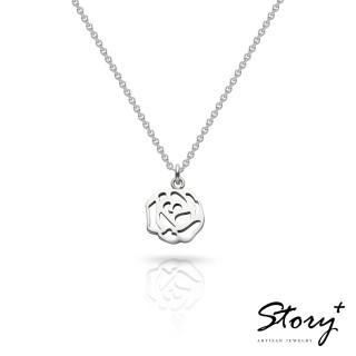 【Story Accessory】祈福項鍊 卡片銀飾玫瑰款