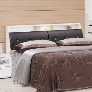 【綠活居】麥利文  5尺白色皮革雙人床頭箱