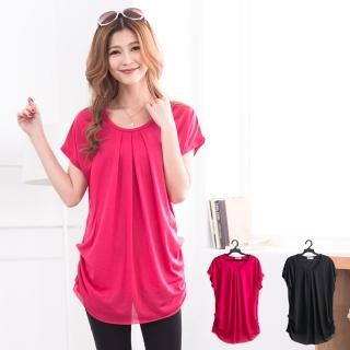 【衣心衣意中大尺碼】素面寬鬆修腰顯瘦A-LINE長版上衣(黑色桃紅A3189)