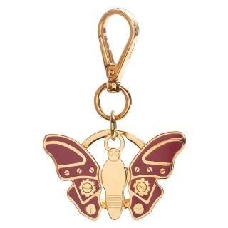 【PRADA】經典TRICK METAL金屬機械蝴蝶造型吊牌鑰匙圈 蜜桃粉X金(1AP691-PEONIA)