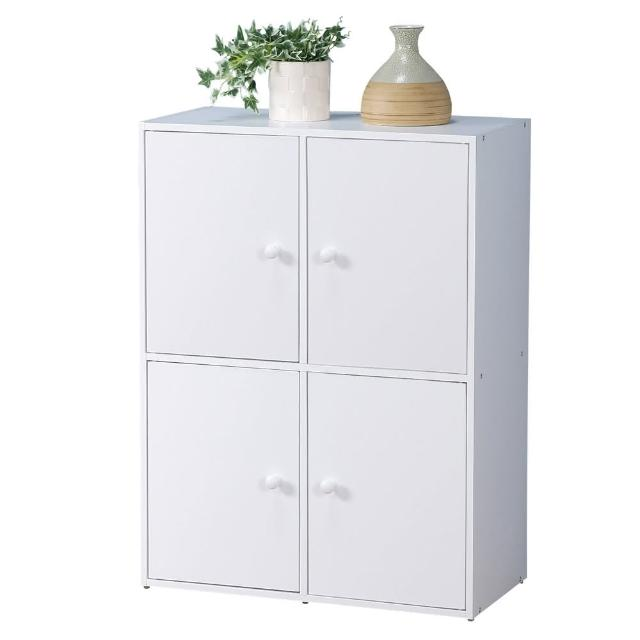 【Homelike】現代風二層四門置物櫃(三色)