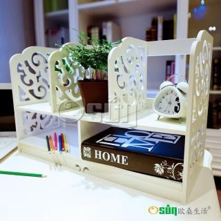 【Osun】DIY木塑板 歐式白色雕花經典巴洛克桌上型書架(CE-178_BLK60)