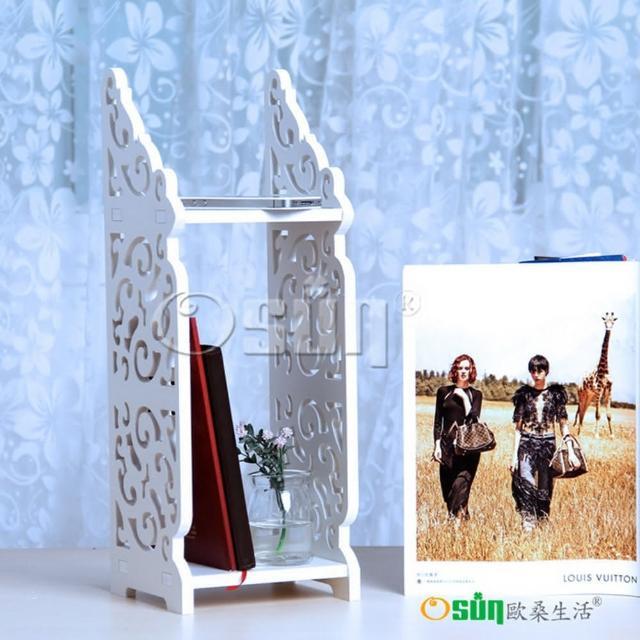 【Osun】DIY木塑板 歐式白色雕花經典巴洛克桌上型層架(CE-178_BLK16)