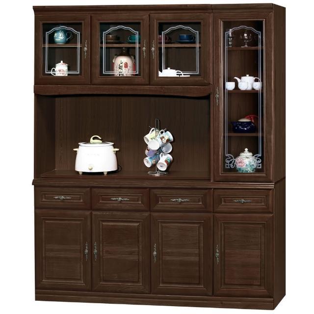 【時尚屋】義昇胡桃5.3尺碗櫥櫃組(953-1)