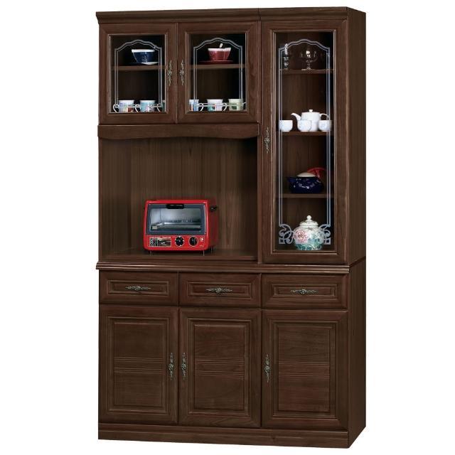 【時尚屋】義昇胡桃4尺碗櫥櫃(954-2)