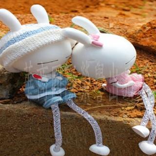 長耳兔樹脂情侶娃娃汽車飾品