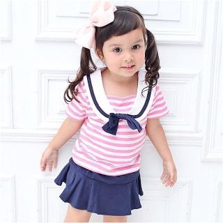 【baby童衣】女童紅色條紋水手套裝 52215