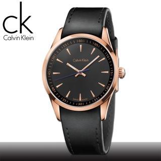 【瑞士 CK手錶 Calvin Klein】玫瑰金_弧形強化玻璃_皮錶帶_紳士錶(K5A316C1)