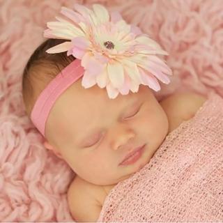 【美國Jamie Rae】女童/女寶寶 100純棉髮帶_糖果粉細髮帶+溫柔粉雛菊(JRFBD05)