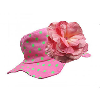 【美國Jamie Rae】女童/女寶寶 100純棉帽_糖果粉點點遮陽帽+糖果粉玫瑰(JRSHRPD01)