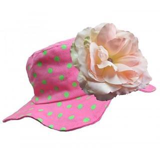【美國Jamie Rae】女童/女寶寶 100純棉帽_糖果粉點點遮陽帽+溫柔粉玫瑰(JRSHRPD02)