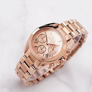 【Michael Kors】羅馬假期三眼計時腕錶-玫瑰金(MK5799)