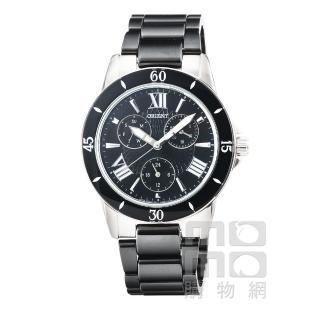 【ORIENT】東方錶CASUAL陶瓷石英女錶-黑(FUT0F004B)