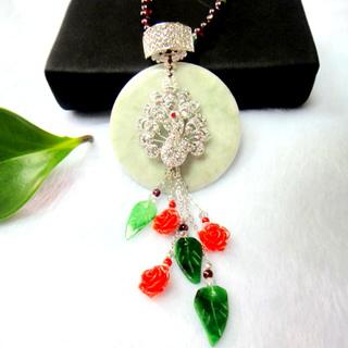 【JIN YANG】花開富貴A貨翡翠珊瑚墬鍊
