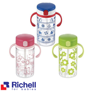 【BabyTiger虎兒寶】Richell LC 戶外吸管水杯 320ML(粉.綠.藍三色)