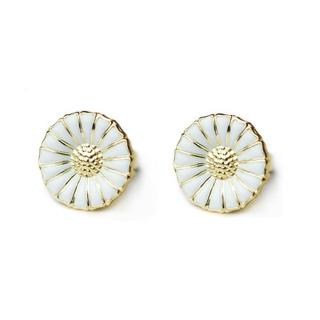 【Georg Jensen】Daisy 純銀鍍K金+白琺瑯雛菊針式耳環