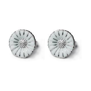 【Georg Jensen】Daisy 純銀+白琺瑯雛菊針式耳環